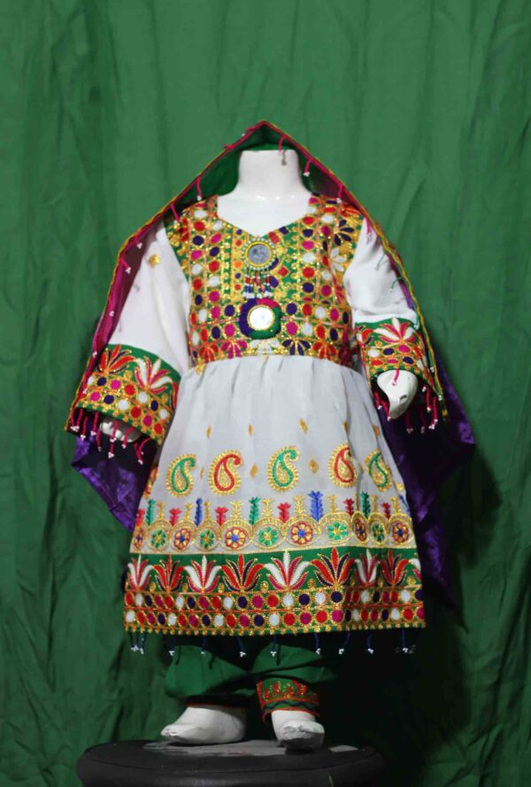 Afghani dress-Traditional Frock for kids White color