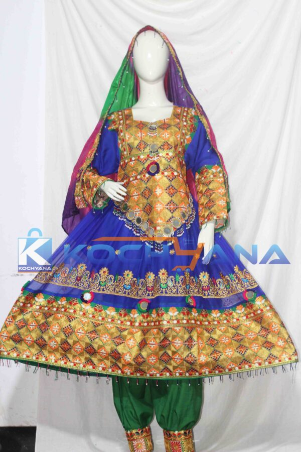Afghan Dress- Traditional Frock - Afghani Frock Full size Blue