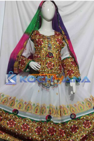 Afghan Dress- Traditional Frock - Afghani Frock Full size White