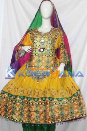 Afghan Dress- Traditional Frock - Afghani Frock Full size Yellow
